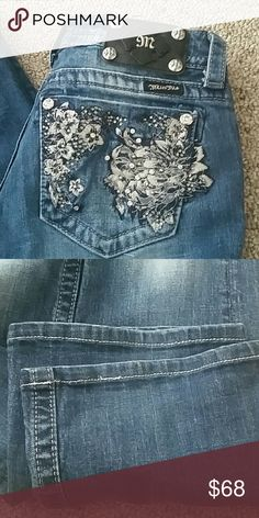 """🆕 Miss Me Jeans Excellent used condition.  No holes. No stains. No rips.  Any markings are the design and not considered a defect.   Style is """"Boot."""" 98% cotton / 2% elastane  Slight stretch to waist and body   Waist measures 14 inches  Inseam measures 30 inches  Width of hem is 8 inches   ⚠Please make offers thru the OFFER TAB ONLY. I DO NOT negotiate on the listing ⚠  ❌No trades  ❌No modeling 1013 Miss Me Jeans Boot Cut"""