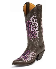 Justin Lavender Cross Embroidered Sepia Calf Cowgirl Boots - Snip Toe