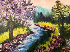 Lavender Tree by Babbling Brooke - Romantic Landscape Painting, Handmade, Acrylic on Canvas Texture Water, Landscape Artwork, Fantasy Paintings, Canvas Artwork, All Pictures, Picture Show, Beautiful Landscapes, Promotion, Lavender