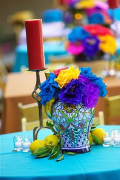 Lovely Decor by La Fete Weddings. Spanish or Mexican themed party with BRIGHT colors! Spanish Party, Spanish Wedding, Spanish Style, Wedding Centerpieces, Wedding Decorations, Fiesta Decorations, Table Centerpieces, Table Decorations, Mexican Themed Weddings
