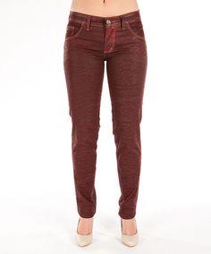 Beija Flor Red Jeans Pants Nicole Butt-Lifting Eco-Chic Denim Resin Coated 6 14 #BeijaFlor #SlimSkinny Size:14