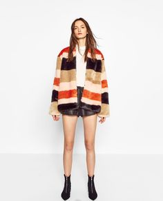 FAUX FUR STRIPED COAT-View all-OUTERWEAR-WOMAN | ZARA United States