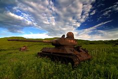 Soviet tanks rusting away in Kazakhstan.