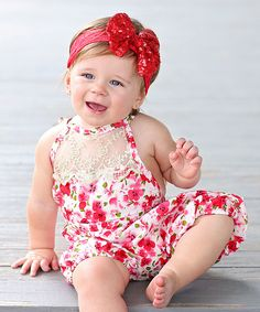 Whitney Elizabeth Red Floral Lace-Accent Romper - Infant & Toddler by Whitney Elizabeth #zulily #zulilyfinds