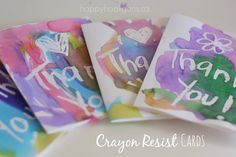 4 thank you cards - Crayon Resist Art Process