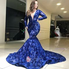 Luxury beaded embroidered royal blue plunging long sleeve mermaid prom gown