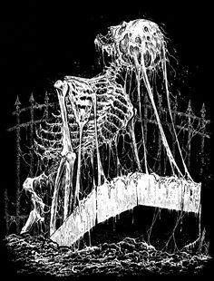 Dark Art Illustrations, Dark Art Drawings, Illustration Art, Arte Horror, Horror Art, Heavy Metal Art, Death Art, Satanic Art, Arte Obscura