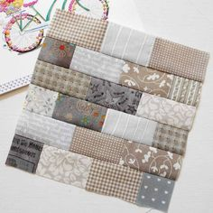"""The 6"""" Brick Wall block is a great filler block. And the first tip of #patchsmithsamplerblocks sew-along tells you how to resize the…"""