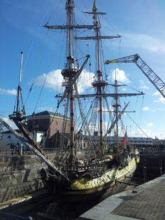 Replica 'De Shtandart' in dry-dock Hellevoetsluis, Netherlands.