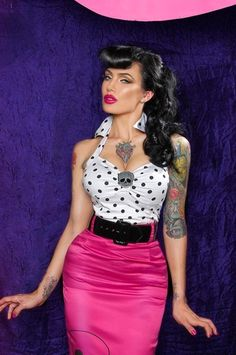 "Psychobilly Halter Top - ""Deadly Dames""  Fitted Halter Top in White with Black Polka Dots"