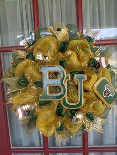 Baylor University Bears Poly Deco Mesh Door by Crazyboutdeco