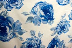 Retro Blue Rose Print Cotton Fabric LargeScale by GertieInRoses