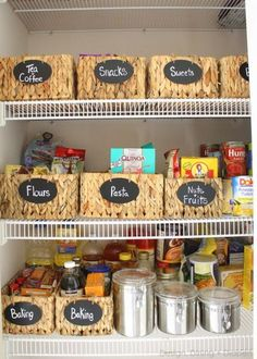 When you use baskets with labels in your pantry, you can pile items on top of each other without worrying that they'll topple over onto the floor the next time you open the door. See more at Design Dining Diapers »