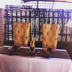 Brown Sweshwe Sweetheart table at a private residence! #nubianwedding #shweshwe South African Wedding