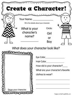 Create A Character. This is a free writing activity and could be used to help students with their creative thinking. This resource includes all the necessary materials to help students brainstorm, record, edit, and create their own realistic fiction story. This activity is intended for K-3rd grade students. The activity contains multiple graphic organizers that students can complete to create their own characters.