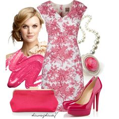 """Lady in Pink"" by disneydiva7 on Polyvore. Love the shoes and the dress PERFECT FOR MY BRIDAL SHOWER!"
