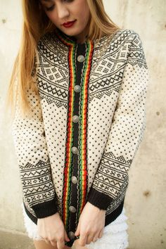 Vintage sweater, ivory wool cardigan, black red yellow green, Dale of Norway – 2019 - Sweaters ideas Hand Knitted Sweaters, Wool Sweaters, Wool Cardigan, Black Cardigan, Norwegian Style, Norwegian Knitting, Vintage Sweaters, Black Wool, Knit Patterns