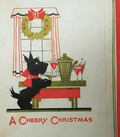 Properly trained Scottie at Christmas.