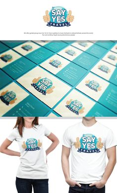 Brand Identity! SAY YES! Travel - name in front of world and thumbs up out at you from each side. Playful and smooth! by Janna Grace ™