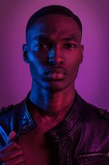 Zantrell Harrison (itslindsay) Tags: lighting pink blue boy man black hot male beautiful studio cool model purple photoshoot badass stock bad handsome style images dude professional commercial getty editorial tough leatherjacket stylized malemodel styled