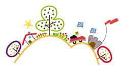 arbol casa sol valla flores coche nubes castillo bandera ilustracion estrella de pablo