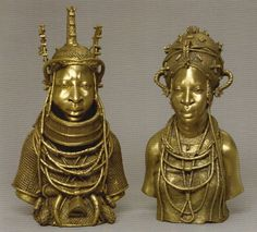 Bronze casting is a top trade in Nigeria, these casts were created between 2005-2006 by Omodamwen workshop honoring an Oba (King) and the first of his four wives.