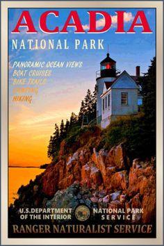 ACADIA-National-Park-New-Retro-Ranger-Lighthouse-Poster-3-sizes-Art-Print-101