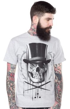 """If all girls want diamond and pearls, then guys want diamonds and stones! This over sized artwork by Juan Garcia of a skull wearing a top hat is printed on a gray heather t-shirt with """"Some Days Are Diamonds and Some Days Are Stones"""" around it. Printed Polo Shirts, Hair And Beard Styles, Cool Shirts, How To Look Better, Shirt Designs, Stones, Mens Fashion, Guys, Mens Tops"""