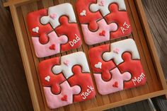 Puzzle Valentine Cookies. by navygreen, via Flickr