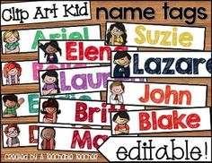 Super cute editable name tags with personalized clip art kids. My first grade students went crazy over these name tags! $