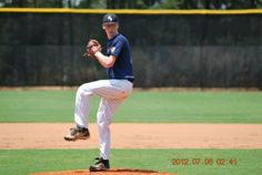 John Doherty throwing a pitch at the Perfect Game Showcase in East Cobb, GA July 2012