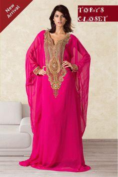 Very Fancy dubai Kaftan/Abaya/jalabiya Ladies Maxi Dress Caftan Wedding gown (pink). $149,99, via Etsy.