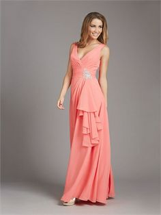 Straps V-neck Beadings Ruffles Chiffon Bridesmaid Dress BD10405 www.dresseshouse.co.uk $98.0000