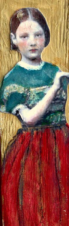 Tall Girl on wood  mixed media portrait painting by MaudstarrArt,