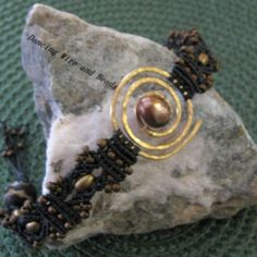 Macrame Bracelet with Hammered Brass Swirl and freshwater potato pearl
