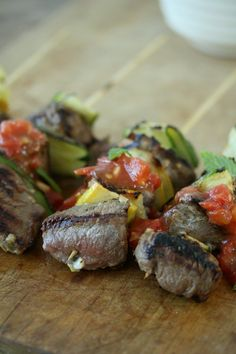 Grilled Marinated Lamb Kebabs with Zucchini and Lebonese Fresh Tomato Salsa | Easy Healthy Recipe #summersoiree