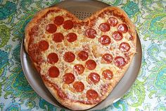 Homemade Pizza dough/sauce recipe. Shape into a heart for a fun twist for Valentines Day