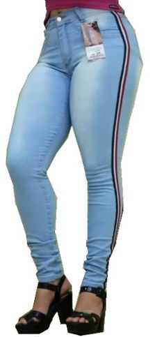 afdaacb4f5305 Mercado livre online · calça jeans feminina listra laterais com lycra  cintura alta