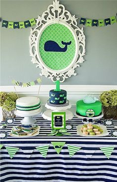Check out the colorful and bright decorations of this preppy boys' whale-themed party. Everyone will love the nautical feel.