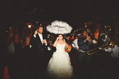 Bride and Groom doing the second line in New Orleans