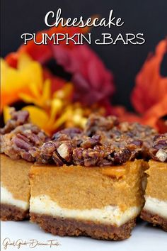Cheesecake Pumpkin Bars are super delicious with both cheesecake and pumpkin pie then topped with candied pecans. Cheesecake Pumpkin Bars are super delicious with both cheesecake and pumpkin pie then topped with candied pecans. Pumpkin Cheesecake Bars, Pumpkin Pie Bars, Pumpkin Dessert, Cheesecake Desserts, Pumkin Pie, Pumpkin Squares, Pumpkin Cakes, Pumpkin Pie Cupcakes, Pecan Desserts