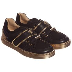 Young Versace Unisex Black & Gold Leather Medusa Trainers at Childrensalon.com