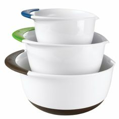 OXO Good Grips 3-Piece Mixing Bowl Set - so glad I got the set, and I love the colors and design - rubber on bottom to grip and lip to prevent spills