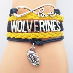 TODAY'S SPECIAL OFFER BUY 1 OR MORE, GET 1 FREE - $19.99! Limited time offer - Infinity Love Michigan Wolverines Football Team Bracelet on Sale. Buy one or more bracelets and we will give you one extr