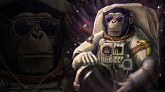 Monkey Sunglasses Astronaut WTF Banana wallpaper background