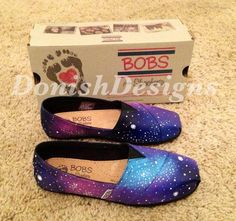 Custom Painted Galaxy Bobs/ Toms Shoes on Etsy, $98.00 Toms Canvas Shoes, Cheap Toms Shoes, Toms Shoes Outlet, Toms Flats, Converse Shoes, Adidas Shoes, Nike Outfits, Bob Shoes, Shoes 2018