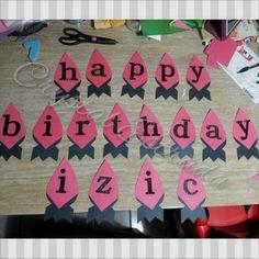 Izics rocket theme birthday banner done by crystal Estrada