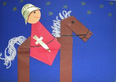 shape knight and horse Hl Martin, Saint Martin, Kindergarten Portfolio, Teaching Kindergarten, Art Activities For Toddlers, Preschool Activities, Chateau Moyen Age, Diy For Kids, Crafts For Kids