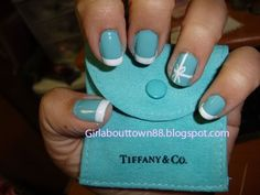 Tiffany blue nails done well.
