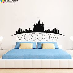 Russia Moscow Skyline Wall Decal City Silhouette Vinyl Stickers Living Room, Bedroom, Kitchen Wall Art Murals Home Decoration #Affiliate